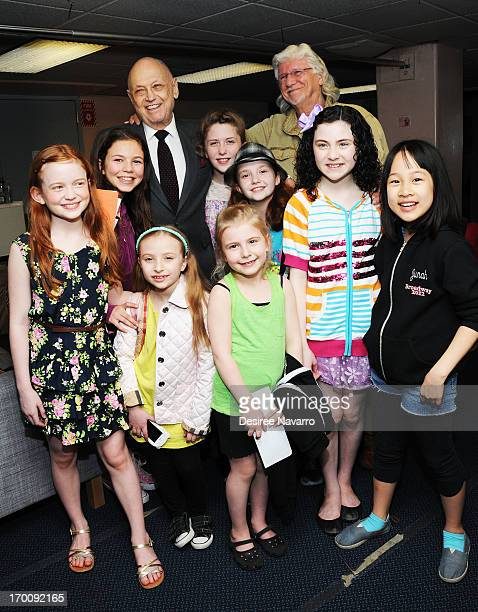 Charles Strouse and Martin Charnin with cast members Madi Rae DiPietro Jaidyn Young Taylor Richardson Lilla Crawford Junah Jang Sadie Sink Brooklyn...