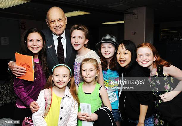 Charles Strouse with cast members Madi Rae Di Pietro Jaidyn Young Taylor Richardson Junah Jang Sadie Sink Brooklyn Shuck and Emily Rosenfeld attend...