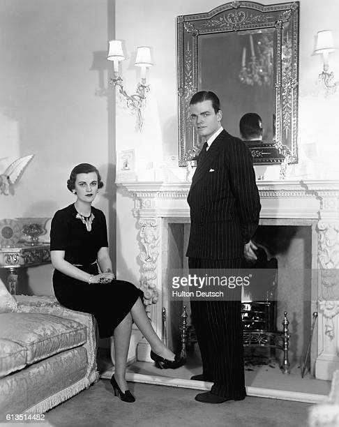 Charles Sweeny the financier with his wife Margaret Duchess of Argyll at home 1938