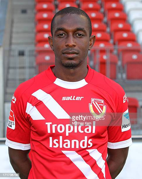 Charles Takyi poses during the FC Energie Cottbus team presentation at Stadion der Freundschaft on June 28, 2013 in Cottbus, Germany.