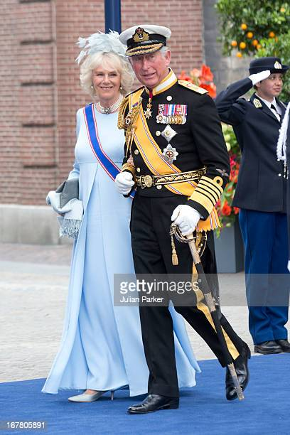 Charles The Prince of Wales and Camilla The Duchess of Cornwall leave the Nieuwe Kerk in Amsterdam after the inauguration ceremony of King Willem...