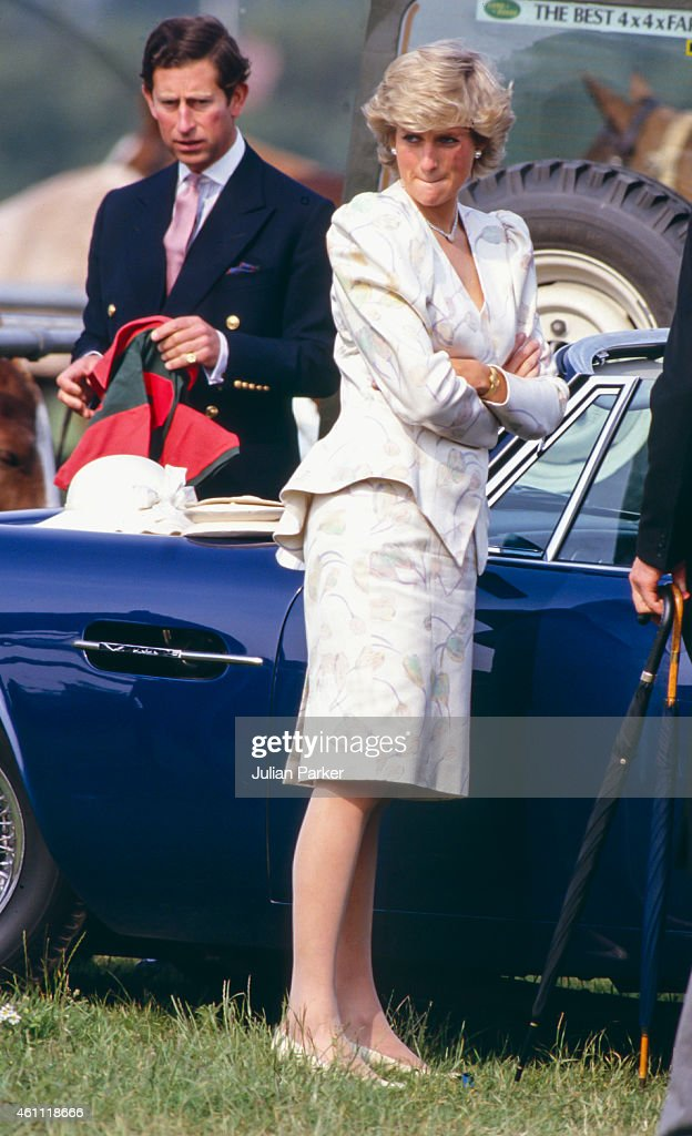 Charles, The Prince of Wales, and Diana, Princess of Wales  attends  Smiths Lawn Polo, Windsor, after The Royal Ascot race meeting : News Photo