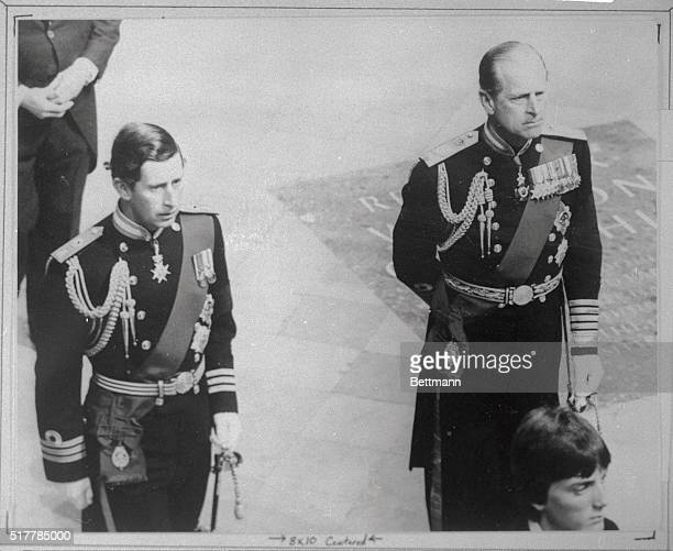 Charles the Prince of Wales and Duke of Edinburgh enter Westminster Abbey 9/5 for funeral ceremony for Lord Mountbatten