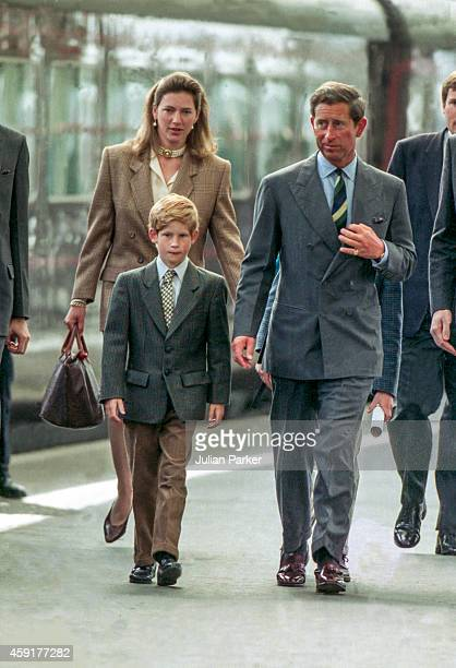 Charles The Prince of Wales and Prince Harry with nanny Tiggy Legge Bourke arrive at Aberdeen Railway Station heading for Balmoral Estate Scotland on...