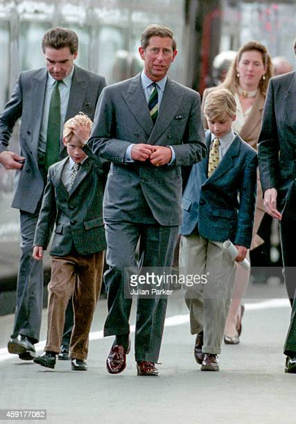Charles The Prince of Wales Prince William and Prince Harry with nanny Tiggy Legge Bourke arrive at Aberdeen Railway Station heading for Balmoral...