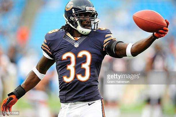 Charles Tillman of the Chicago Bears against the Carolina Panthers during a preseason NFL game at Bank of America Stadium on August 9 2013 in...