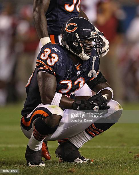 Charles Tillman of the Chicago Bears reacts after giving up a touchdown to the Arizona Cardinals during a preseason game at Soldier Field on August...