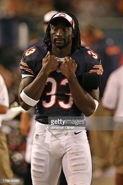 Charles Tillman of the Chicago Bears stands on the sidelines during a game against the San Diego Chargers at Soldier Field on August 15 2013 in...