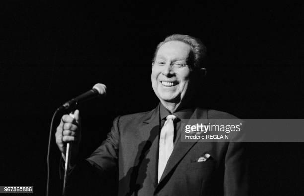 Charles Trenet en concert au Théâtre des Champs-Elysées à Paris le 26 septembre 1987, France.