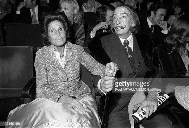 Charles Trenet on scene at Olympia in Paris France on April 10 1975 Gala and Salvador Dali