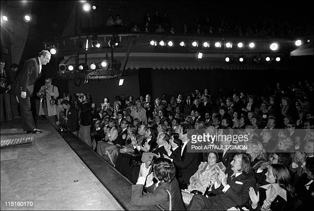 Charles Trenet on scene at Olympia in Paris France on April 10 1975 Charles Trenet bowes to the audience Gilbert Becaud Gala Salvador Dali
