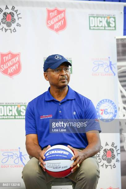Charles Turner speaks to children during the Erving Youth Basketball Clinic on September 9 2017 at the Sixers Training Complex in Camden New Jersey