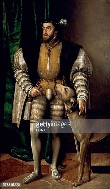 Charles V, Holy Roman Emperor . The portrait of Charles V with a Dog by Titian . Oil on canvas. Museum of Prado. Madrid, Spain.