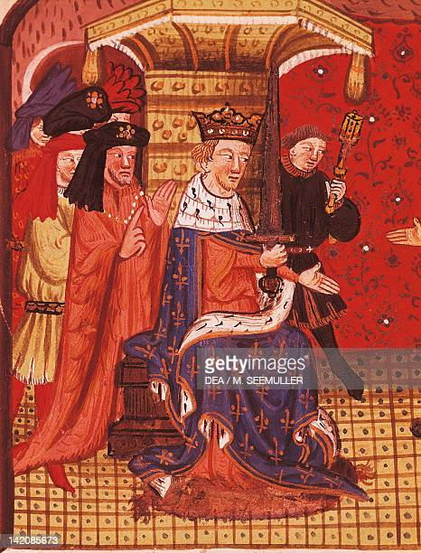 Charles V in his court miniature from The Chronicle of Bertrand du Guesclin manuscript France 15th Century