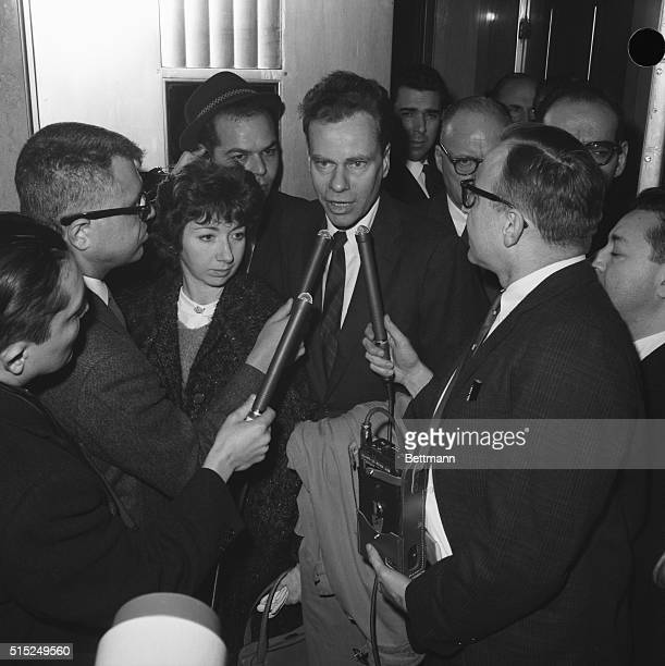 Charles Van Doren talks to the press after his sentence was suspended in TV quiz show scandal Van Doren was supplied with answers as a contestant on...