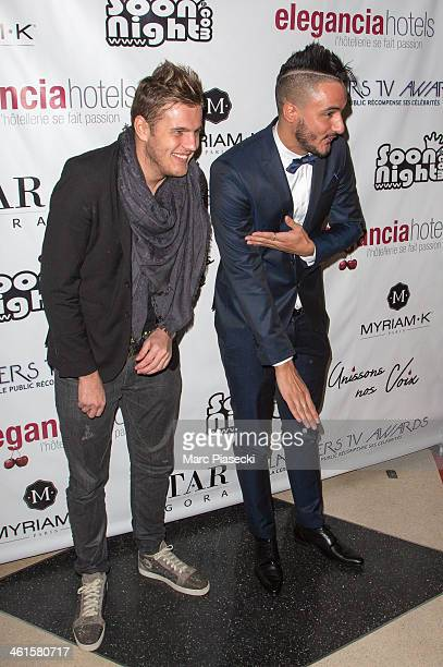 Charles Vassal and Sofiane Djelloudi from the 'Les Ch'tis' tv show attend the Lauriers TV Awards 2014 at La Cigale on January 9 2014 in Paris France