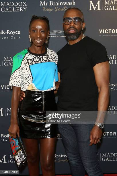 Charles Venn attends a private view of 'Keep Smiling' a new exhibition by Mr Brainwash at Maddox Gallery Westbourne Grove on April 18 2018 in London...