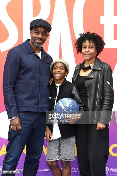 """Charles Venn, son Lucas and wife Zoe Venn attend a special screening of """"SPACE JAM: A NEW LEGACY"""" in cinemas 16th July at Cineworld Leicester Square..."""