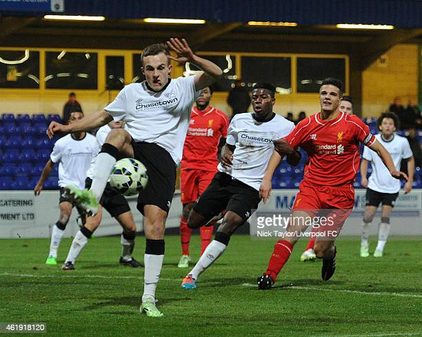 Charles Vernam of Derby County clears the ball inside his own penalty area during the FA Youth Cup 4th Round fixture between Liverpool and Derby...