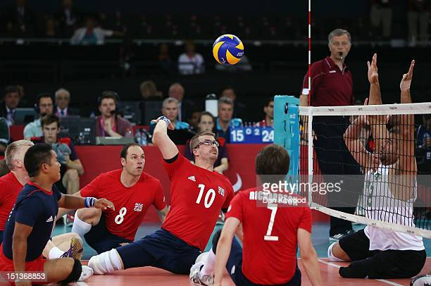 Charles Walker of Great Britain plays a shot during the Men's Sitting Volleyball 78 Clasification match against Brazil on day 8 of the London 2012...