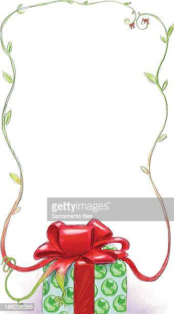 Charles Waltmire color illustration of holiday gift wrapped in earthpatterned paper and topped with big red bow which grows into a vine border For...