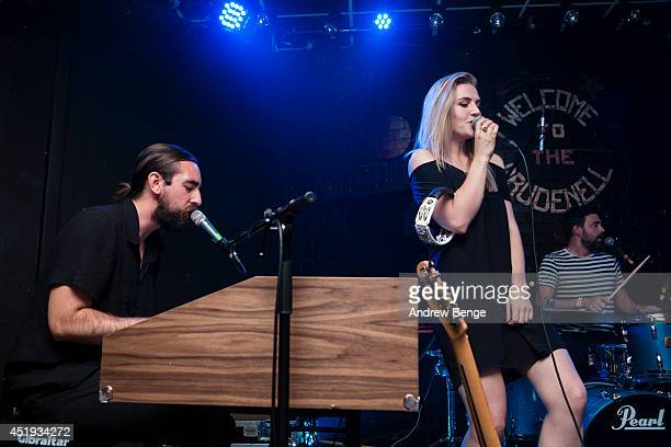 Charles Watson and Rebecca Taylor of Slow Club perform on stage at Brudenell Social Club on July 9 2014 in Leeds United Kingdom