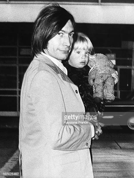 Charles Watts With His Daughter Seraphina At London Airport In United Kingdom On October 17Th 1969