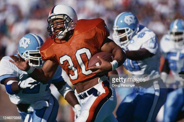 Charles Way, Running Back for the University of Virginia Cavaliers runs the football during the NCAA Atlantic Coast Conference college football game...