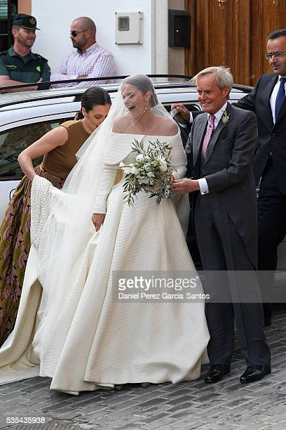 Charles Wellesley and Lady Charlotte Wellesley attend her wedding with Alejandro Santo Domingo at Illora on May 28 2016 in Granada Spain