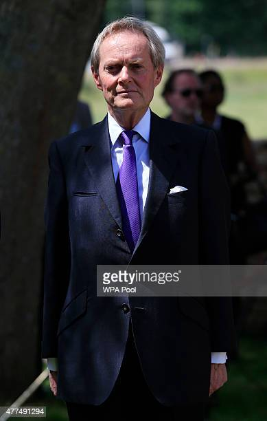 Charles Wellesley The 9th Duke of Wellington attends a ceremony held at Hougoumont Farm to mark the bicentenary of the battle on June 17 2015 in...