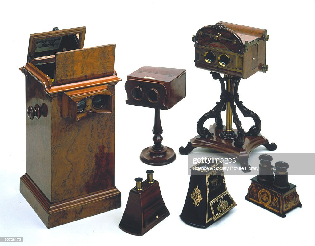Charles Wheatstone demonstrated his stereoscope to the Royal Society in 1838 in order to create an apparently three-dimensional image to demonstrate binocular vision. Although Wheatstone�s invention was intended to be an experimental demonstration apparatus, stereoscopes became popular scientific toys. In the early 1840s, after the invention of photography, some of the foremost early photographers such as W H Fox Talbot and Roger Fenton began producing calotypes specifically for use in stereoscopes. The popularity of stereoscopes was such that 250,000 of the devices were sold in Paris and London over a three month period in 1851. The large box-shaped model (left) held up to one hundred views on an endless belt.