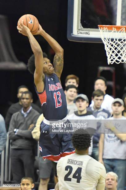 Charles Williams of the Howard Bison goes for a jam during a college basketball game against the Georgetown Hoyas at Capitol One Arena on December 7...