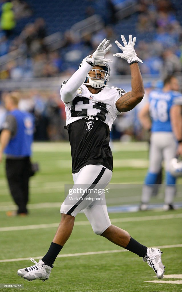 Charles Woodson #24 of the Oakland Raiders looks on during pre-game warmups prior to the game against the Detroit Lions at Ford Field on November 22, 2015 in Detroit, Michigan. The Lions defeated the Raiders 18-13.