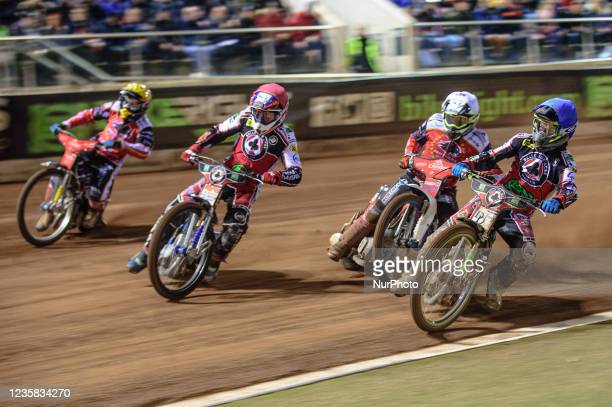 Charles Wright and Steve Worrall lead Chris Harris and Bjarne Pedersen into the first turn during the SGB Premiership Grand Final 1st Leg between...