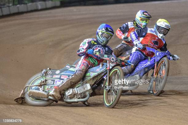 Charles Wright leads Lewis Kerr and Michael Palm Toft during the SGB Premiership Grand Final 1st Leg between Belle Vue Aces and Peterborough Panthers...
