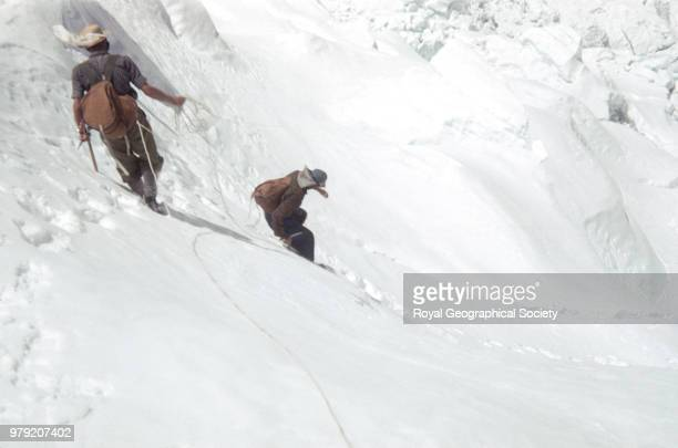 Charles Wylie and Edmund Hillary in the icefall Nepal March 1953 Mount Everest Expedition 1953