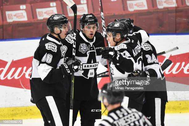 CharlesAntoine Giguere of the BlainvilleBoisbriand Armada celebrates his first period goal with teammates against the ValdOr Foreurs during the QMJHL...