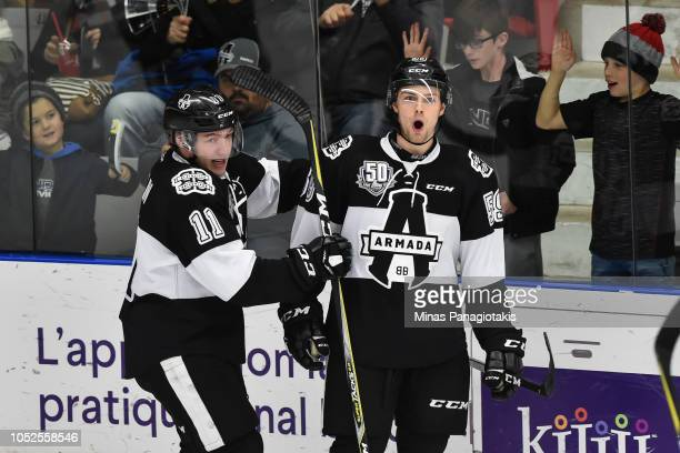 CharlesAntoine Giguere of the BlainvilleBoisbriand Armada celebrates a second period goal with teammate Anthony Poulin against the ValdOr Foreurs...