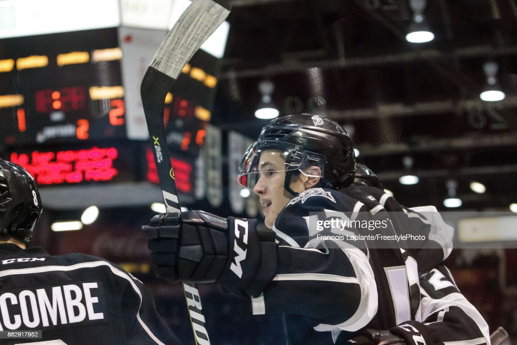 Charles-Antoine Roy #12 of the Gatineau Olympiques celebrates his second period goal against the Acadie-Bathurst Titan on October 18, 2017 at Robert Guertin Arena in Gatineau, Quebec, Canada.