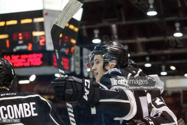 Charles-Antoine Roy of the Gatineau Olympiques celebrates his second period goal against the Acadie-Bathurst Titan on October 18, 2017 at Robert...