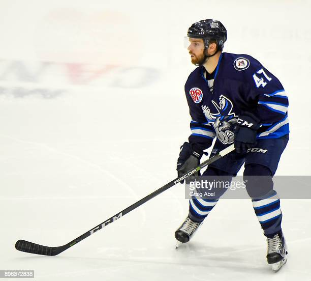 CharlesDavid Beaudoin of the Manitoba Moose watches the play develop against the Toronto Marlies during AHL game action on December 17 2017 at Ricoh...
