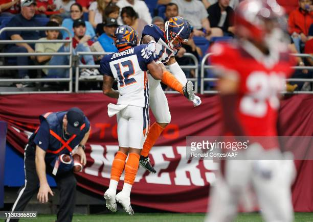 Charles Johnson of the Orlando Apollos celebrates after scoring a touchdown during the second quarter against the the San Antonio Commanders in an...