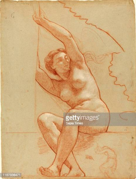 CharlesLouisLucien Muller A Female Nude Seated on a Ledge 18631866 red chalk with white heightening on blue paper