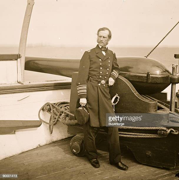 Charleston Harbor South Carolina Rear Adm John A Dahlgren standing by a Dahlgren gun on deck of USS PAWNEE