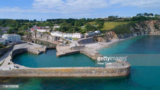 charleston harbour, cornwall - beach stock pictures, royalty-free photos & images
