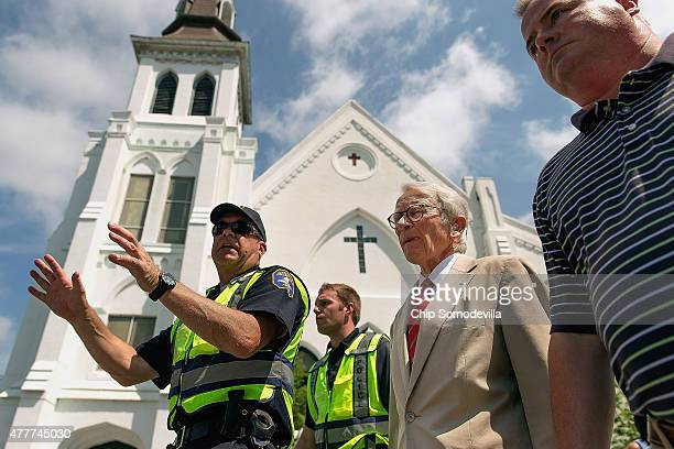 Charleston Mayor Joseph Riley arrives for a news conference outside the historic Emanuel African Methodist Episcopal Church, June 19, 2015 in...
