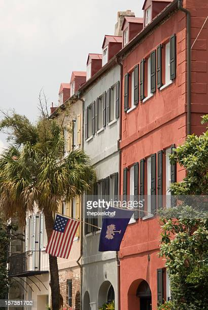 Charleston Row Houses With Flags