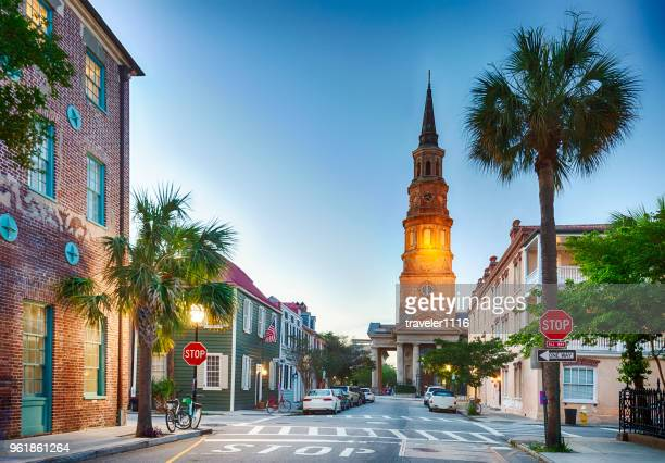 charleston, south carolina in the evening - template_talk:south_carolina stock pictures, royalty-free photos & images