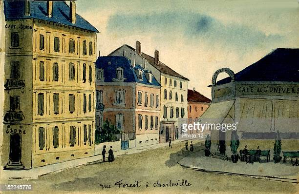 CharlevilleMezieres Rue Forest watercolor France Departmental Archives of the Ardennes