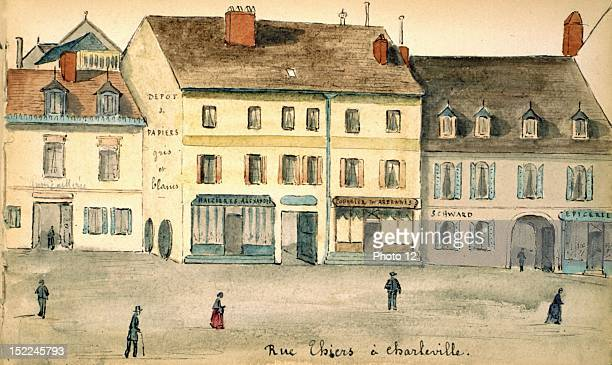 CharlevilleMezieres Rue Thiers watercolor France Departmental Archives of the Ardennes